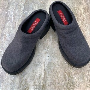 Esprit gray with black chunky sole clogs/mules